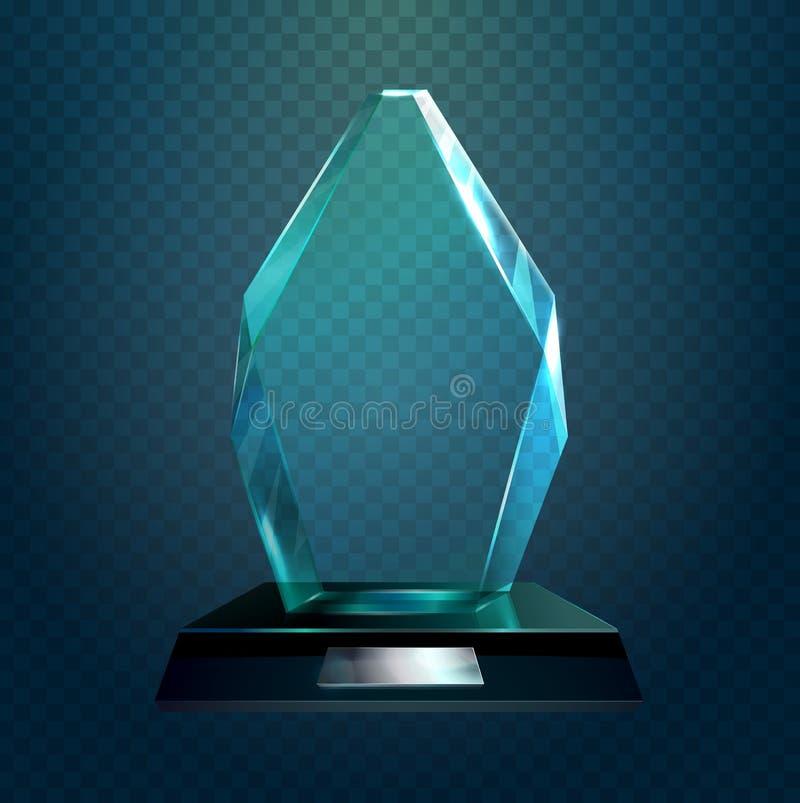 Glasföremåltrofé eller kopp, sportutmärkelse vektor illustrationer