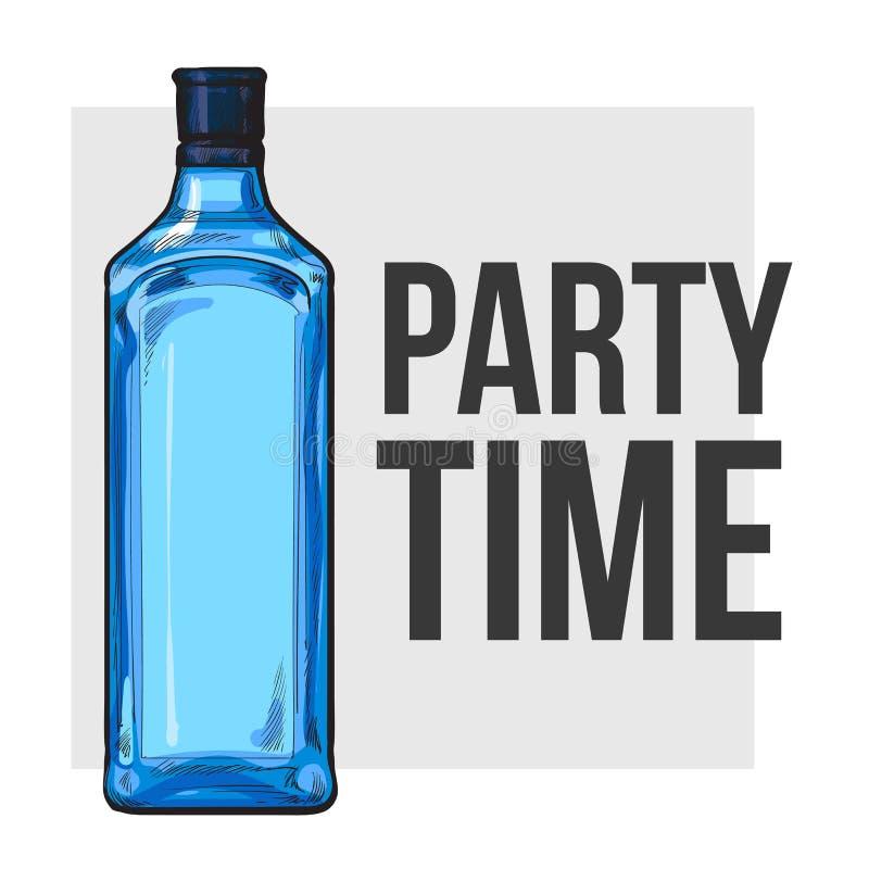 Glasflasche des traditionellen blauen Gins, Plakatdesign, Parteizeitkonzept lizenzfreie abbildung