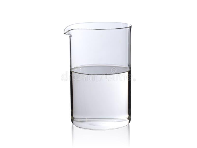 Glasflasche für die französische Presse füllte Hälfte mit Wasser auf einem weißen Hintergrund stockbilder