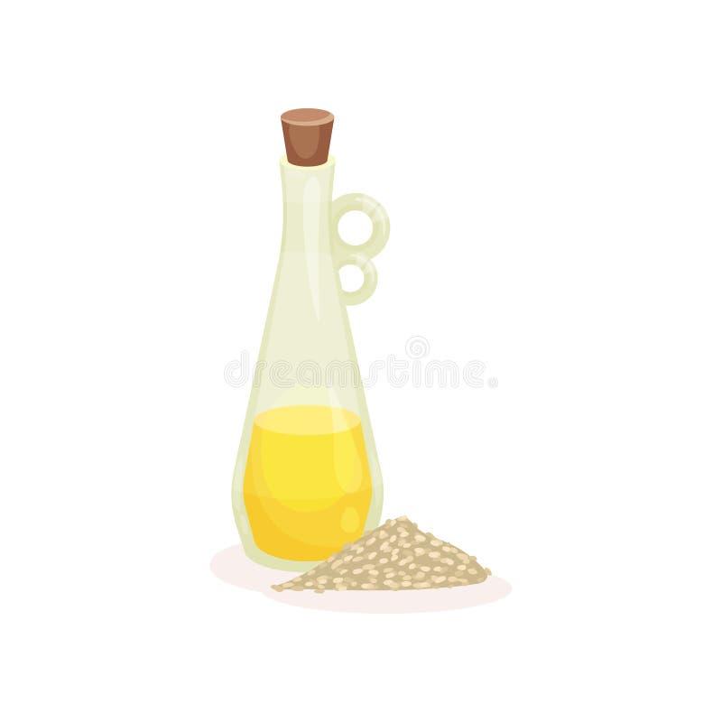 Glasflasche frisches Öl und Haufen des Reises Organisches und gesundes Produkt Kochen des Bestandteiles Flaches Vektordesign stock abbildung