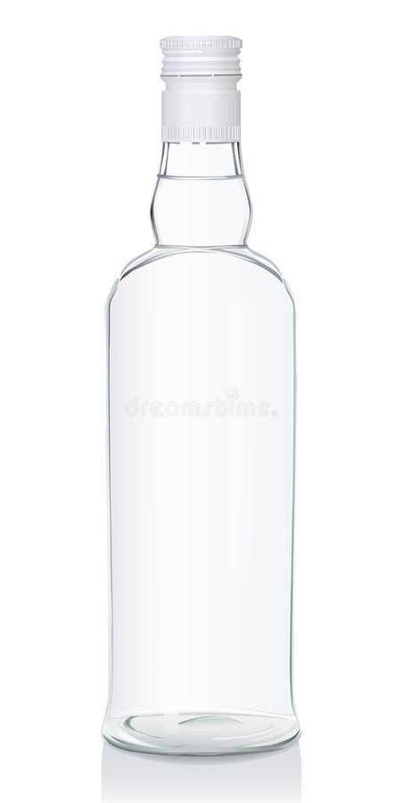 Glasflasche mit russischem Wodka lizenzfreie stockbilder