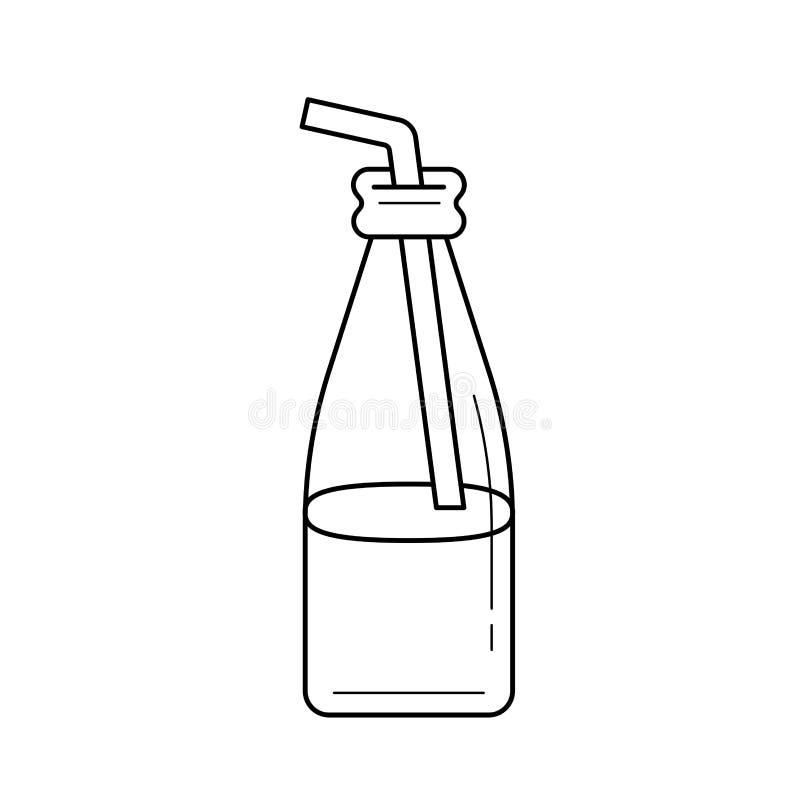 Glasflaska av milkshake med sugrörlinjen symbol vektor illustrationer