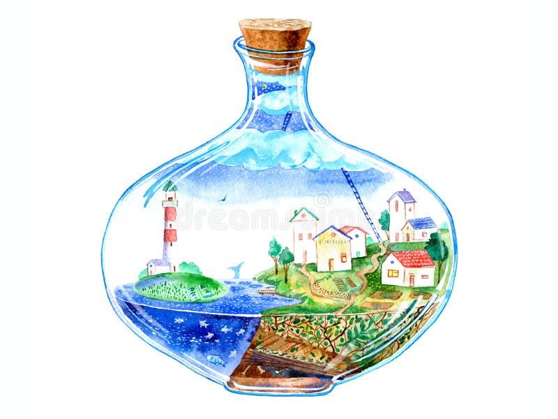 Glasflaska med en by inom royaltyfri illustrationer