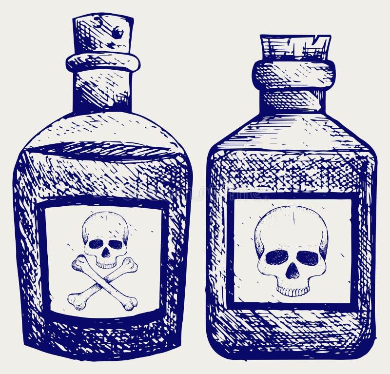 Glasflaskor av gift stock illustrationer