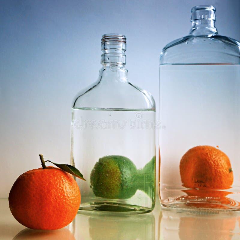 Glasflaskor och mandarines 1 livstid fortfarande arkivbilder