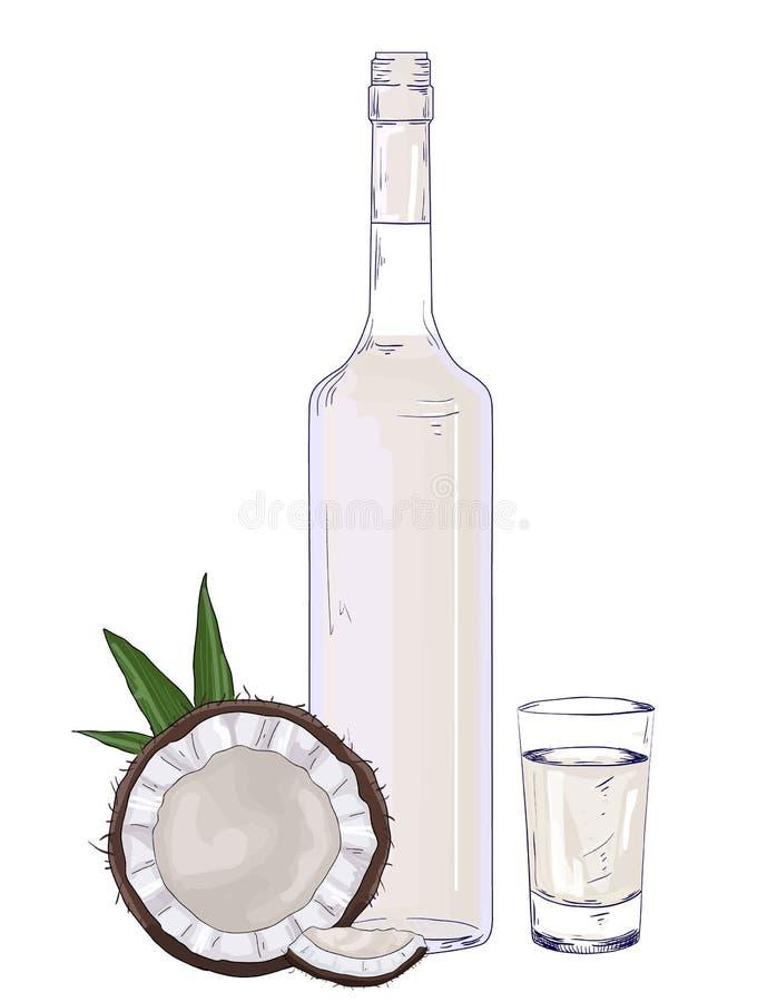 Glasfles en geschoten met de vector van de kokosnotenlikeur royalty-vrije illustratie