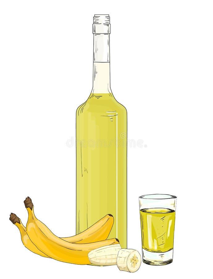 Glasfles en geschoten met de vectorillustratie van de banaanlikeur royalty-vrije illustratie