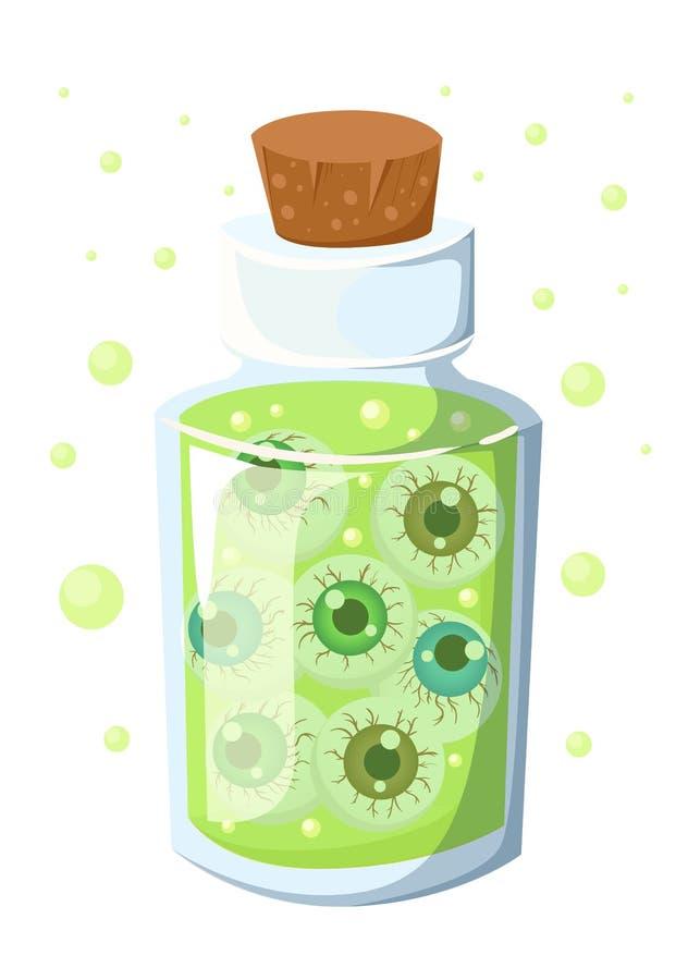 Glasfles met cork kurk met een groene vloeistof Het drankje in een flesje De stijl van het beeldverhaal De illustratie van de voo vector illustratie
