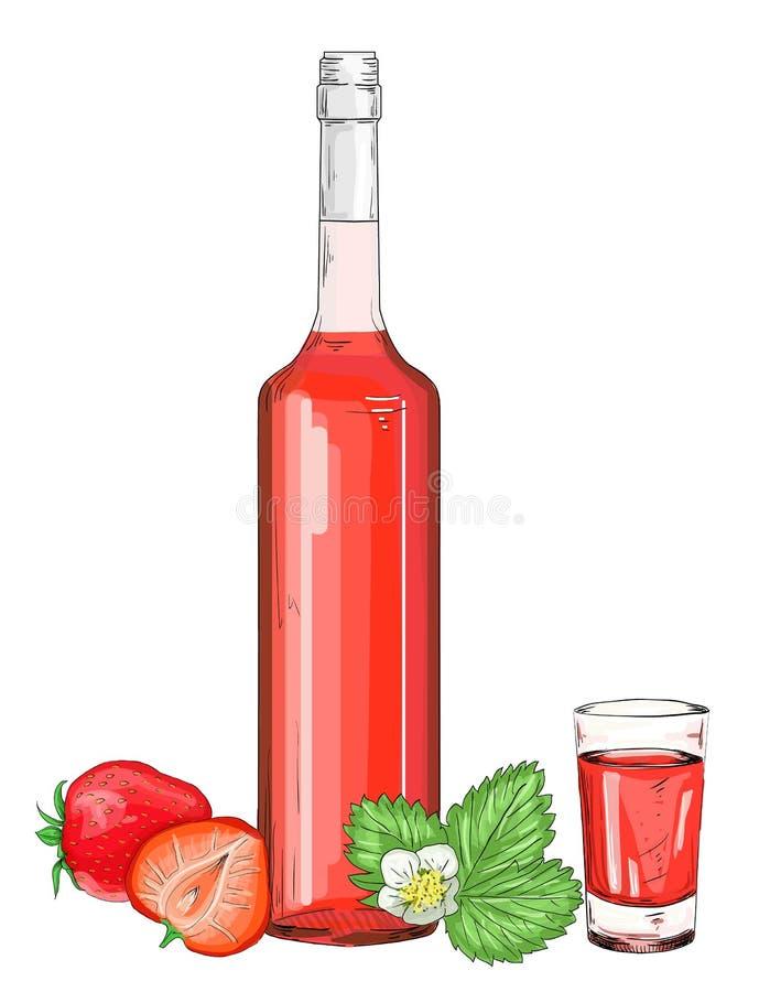 Glasfles met de likeurvector van de aardbeialcohol stock illustratie