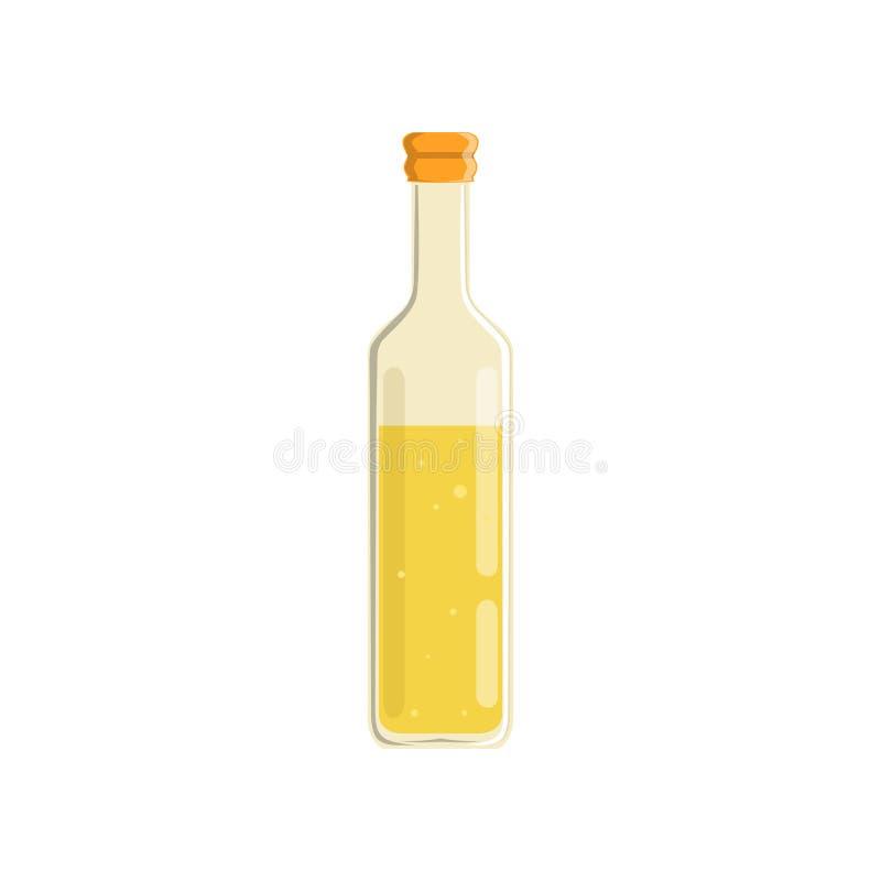Glasfles natuurlijke olijf of zonnebloemolie Biologisch product voor het voorbereiden van voedsel, slasaus of het braden vlak royalty-vrije illustratie