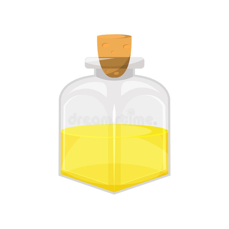 Glasfles plantaardige voedselolie, de organische gezonde vectorillustratie van het olieproductbeeldverhaal stock illustratie