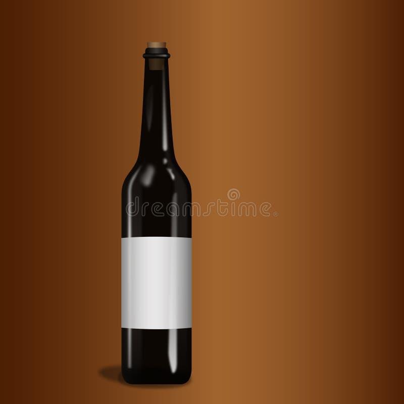 Glasfles zwarte wijn vector illustratie