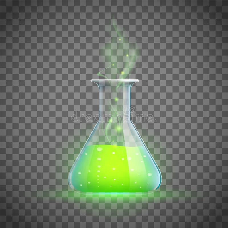 Glasflesje met een liefdedrankje Alchimie en hekserij vector illustratie