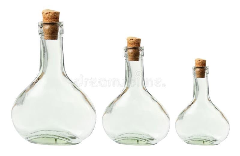 Glasflessen royalty-vrije stock afbeeldingen