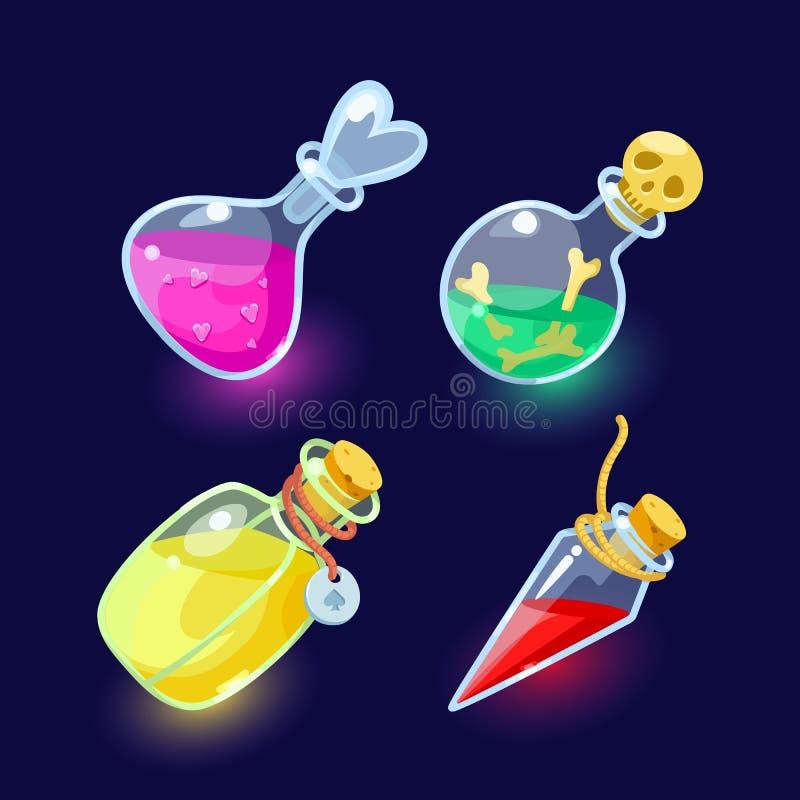 Glasflessen met kleurrijke vloeistoffen royalty-vrije illustratie