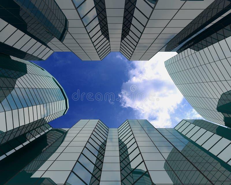 Glasgebouwen op grote hoogte vector illustratie