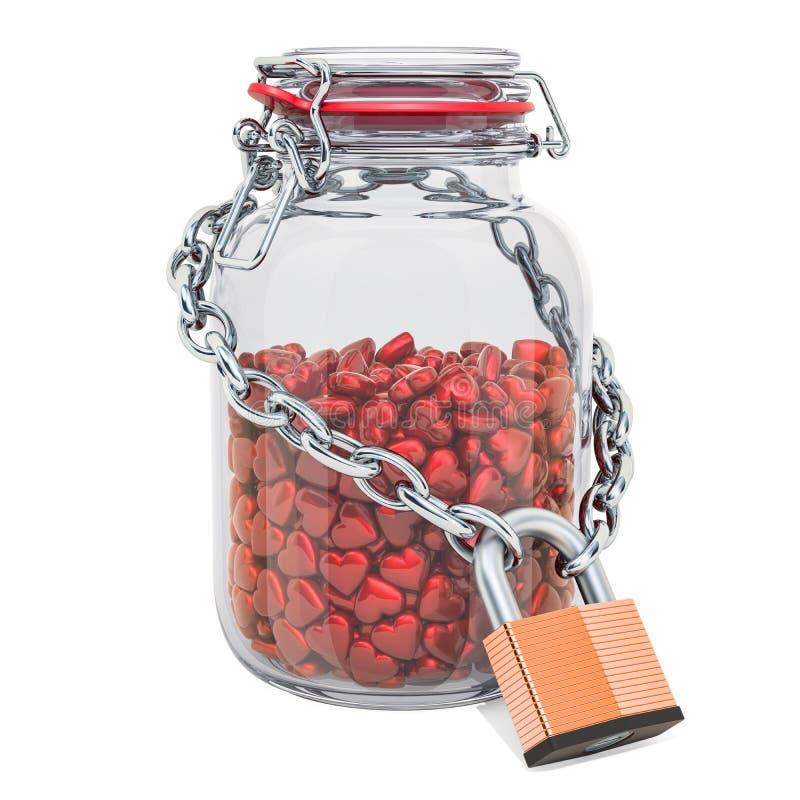 Glasgefäß voll rote Herzen mit Kette und Vorhängeschloß, schützen Liebeskonzept Wiedergabe 3d stock abbildung