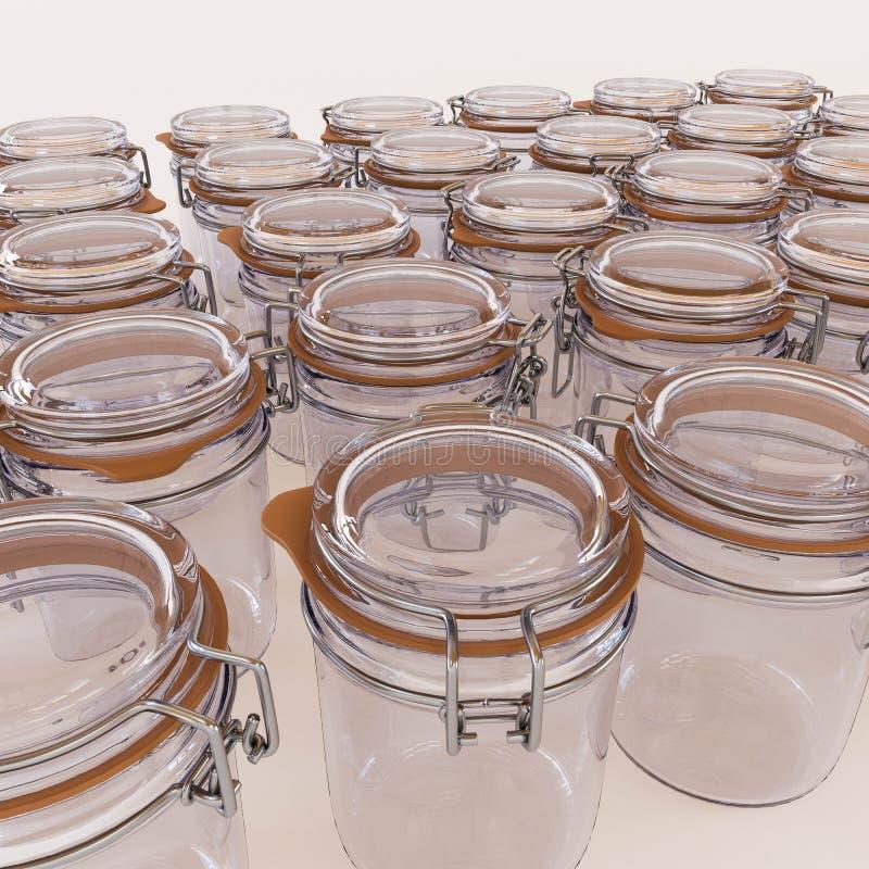 Glasgefäße lokalisiert auf weißem Hintergrund stock abbildung