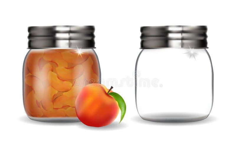 Glasgefäße mit Pfirsichmarmelade und leeren sich vektor abbildung