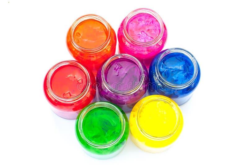 Glasgefäße voll Farbe lizenzfreie stockfotografie