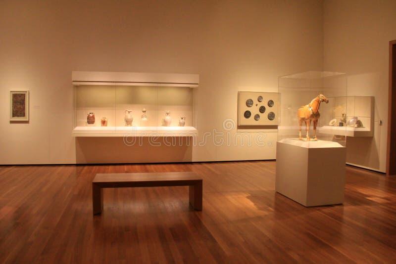 Glasgevallen en voetstukken, met zachte lichten op diverse artefacten, Cleveland Art Museum, Ohio, 2016 royalty-vrije stock afbeelding