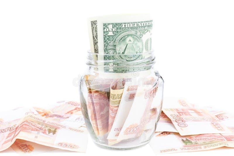 Glasglas mit Geld lizenzfreies stockfoto