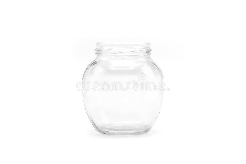 Glasglas mit leerem verlegt auf einem weißen Hintergrund lizenzfreie stockfotografie