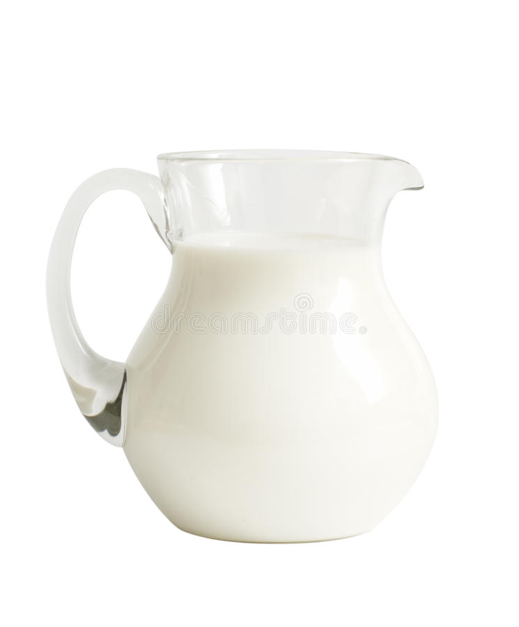 Glasglas mit Milch stockfoto
