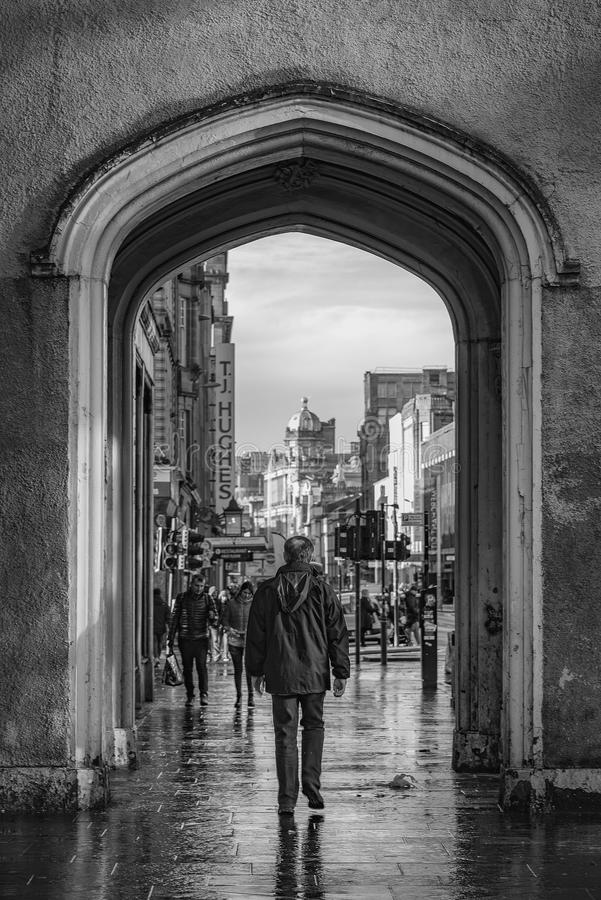 Glasgow Argyle Street Scene Mono immagini stock libere da diritti