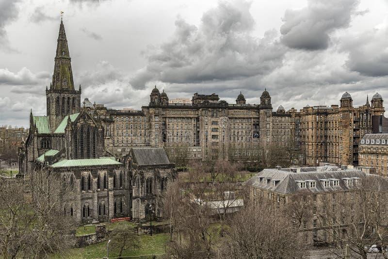 Glasgow Cathedral e Victoria Infirmary immagine stock libera da diritti