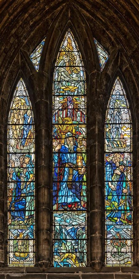 Glasgow Cathedral Stained Glass Window immagini stock libere da diritti