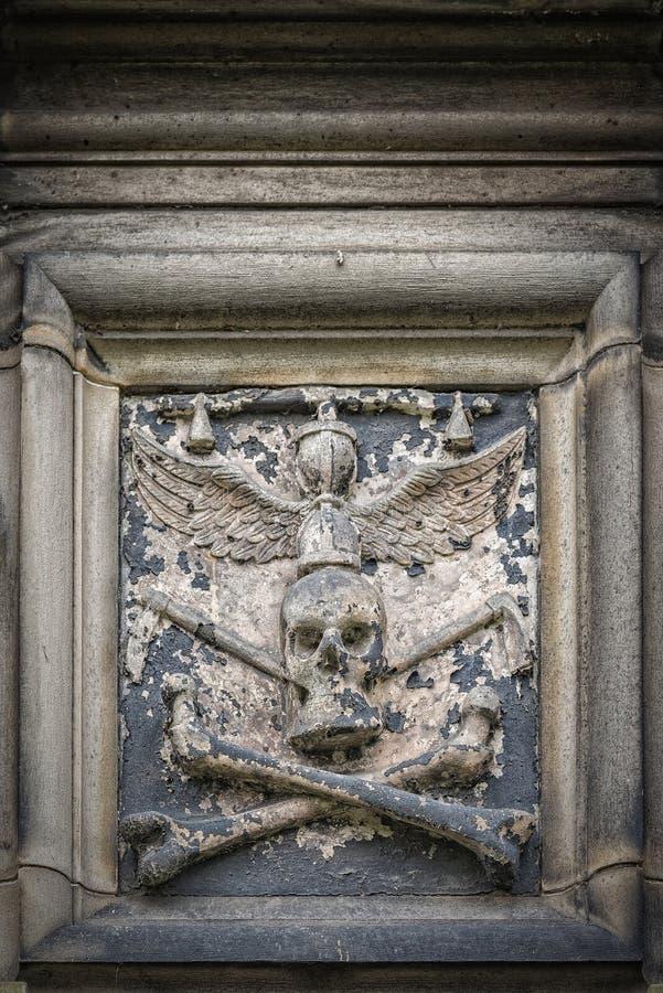 Glasgow Cathedral Stone Skull stockbilder