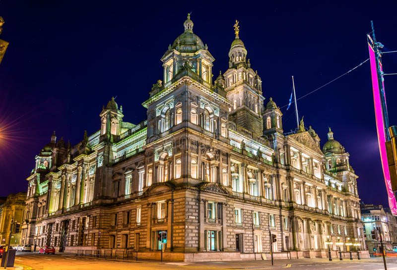 Glasgow City Chambers at night stock photos