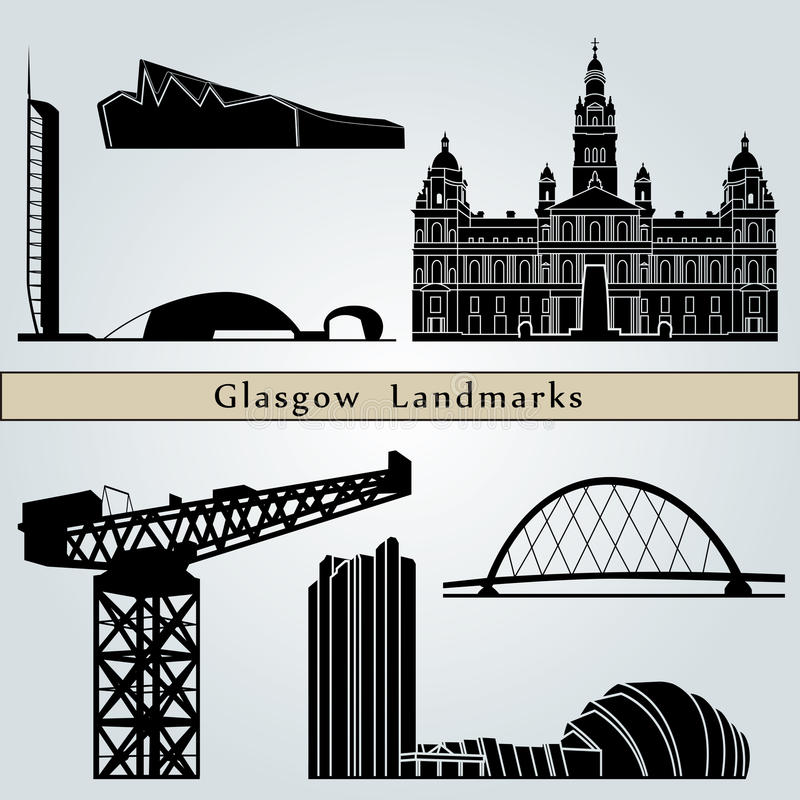 Glasgow Landmarks stock illustratie