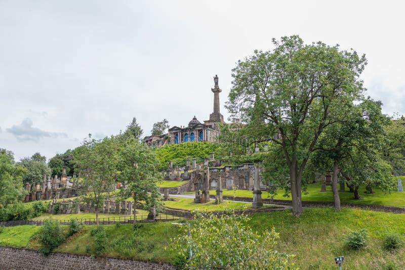 Glasgow Necropolis jest Wiktoriańskim cmentarzem w Glasgow i jest wybitnym cechą w centrum miasta Glasgow zdjęcie stock