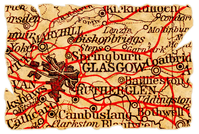 Download Glasgow Old Map Stock Image - Image: 16433101