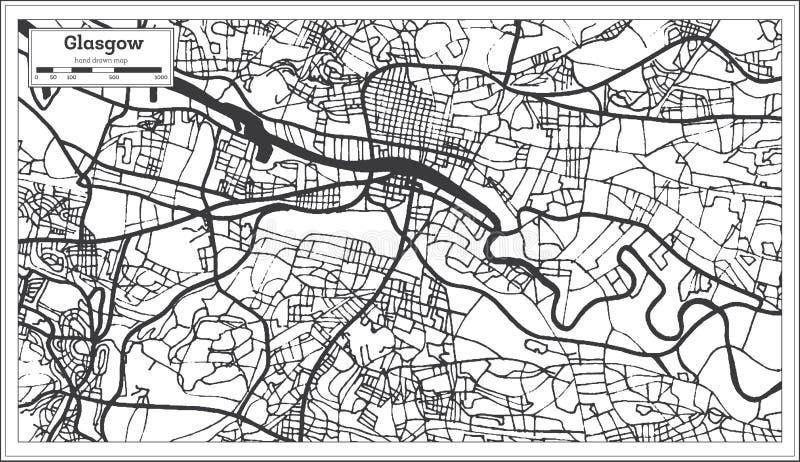 Glasgow Scotland City Map i Retro stil skisserar kartlägger royaltyfri illustrationer