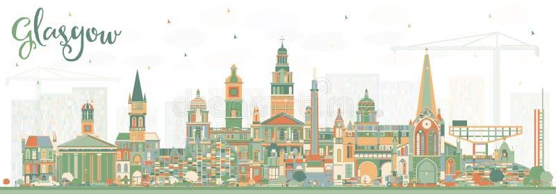 Glasgow Scotland City Skyline med färgbyggnader royaltyfri illustrationer