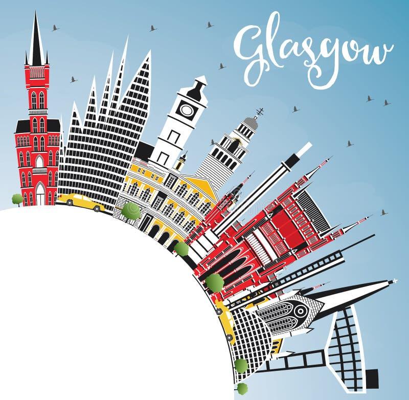 Glasgow Scotland City Skyline med färgbyggnader, blå himmel och royaltyfri illustrationer