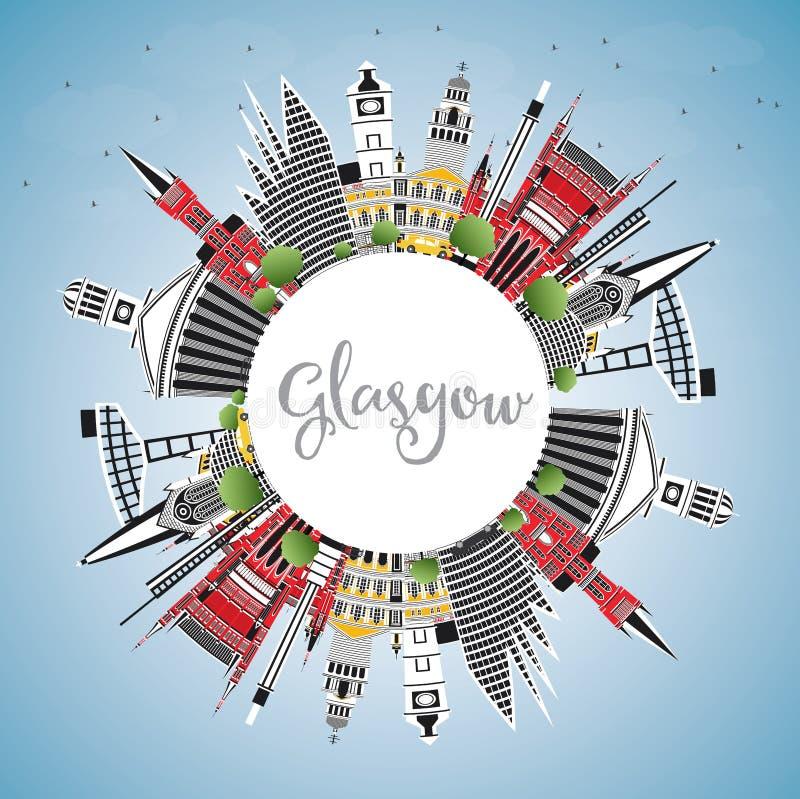 Glasgow Scotland City Skyline med färgbyggnader, blå himmel och vektor illustrationer