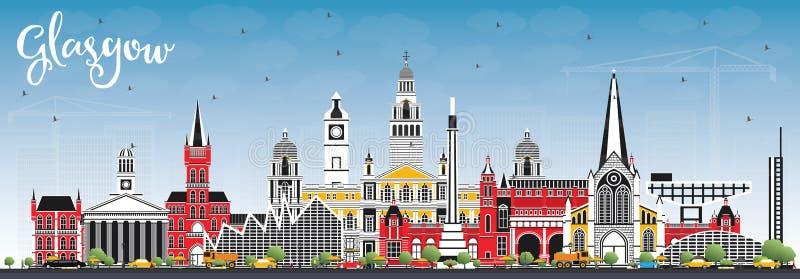 Glasgow Scotland City Skyline med färgbyggnader och blå himmel royaltyfri illustrationer