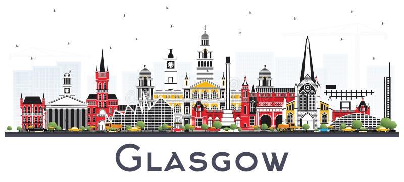 Glasgow Scotland City Skyline med färgbyggnader som isoleras på W stock illustrationer