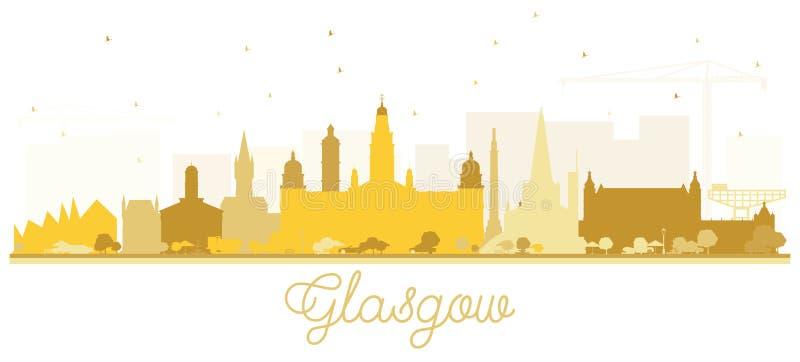 Glasgow Scotland City Skyline med guld- byggnader som isoleras på vit vektor illustrationer