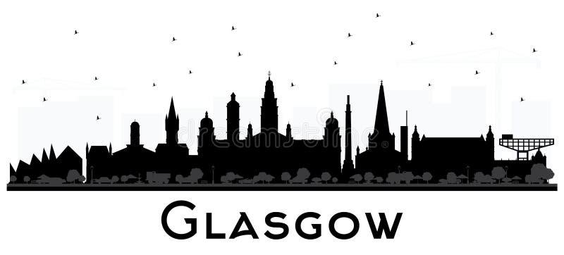 Glasgow Scotland City Skyline med svarta byggnader som isoleras på W vektor illustrationer