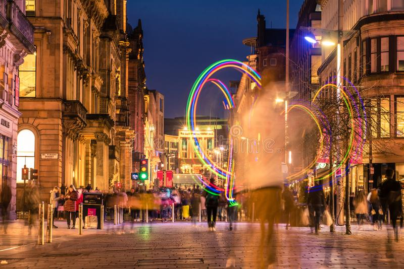 Shoppers, commuters and peddlers on Buchanan street in the city centre stock image