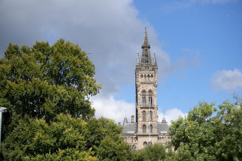 Glasgow, Scotland, 7th September 2013, Main building and tower of the University of Glasgow at Gilmorehill royalty free stock photography