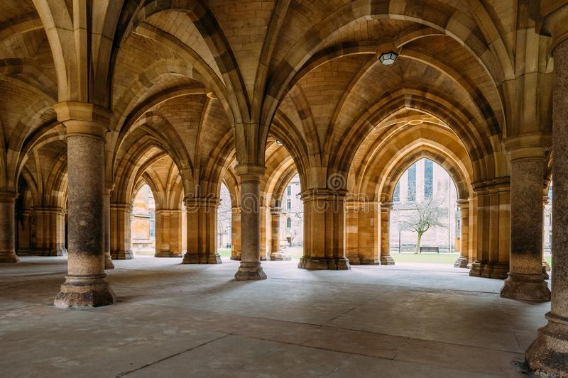 The Cloisters also known as The Undercroft - iconic part of th. Glasgow, Scotland, UK – March 13, 2018:The Cloisters also known as The Undercroft - iconic royalty free stock image