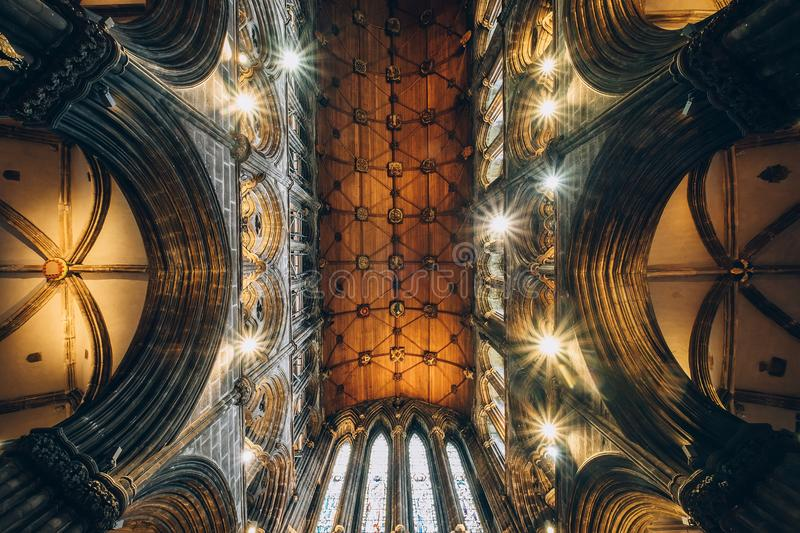 The main hall dome of Glasgow Cathedral, also called the High Kirk of Glasgow or St Kentig. Glasgow, Scotland, UK – March 13, 2018: The main hall dome of royalty free stock images