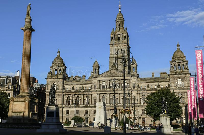 GLASGOW, SCOTLAND, UK -AUGUST 07, 2015: view of George Square in Glasgow stock photo