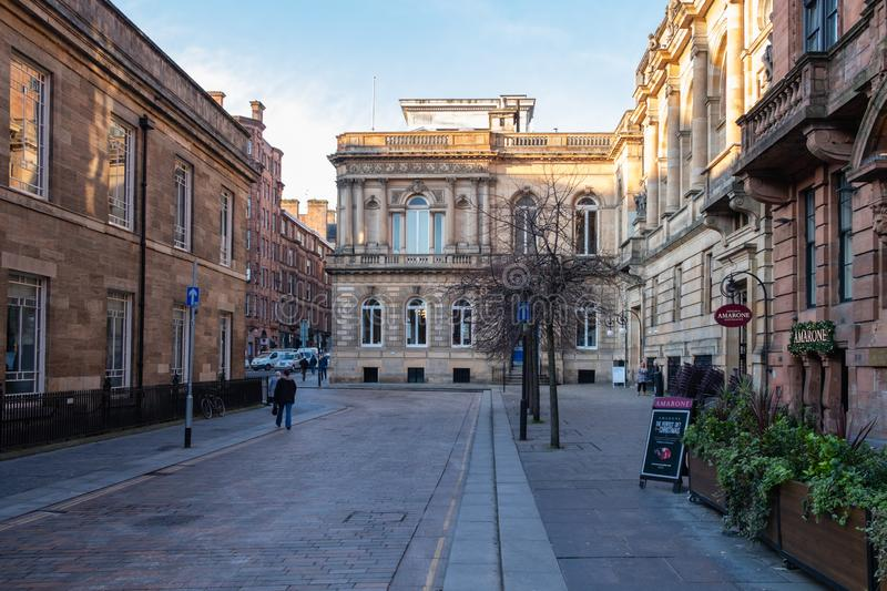 Looking Along Nelson Mandela Place in the City Centre of Glasgow. Glasgow, Scotland, UK - December 14, 2018: Looking along Nelson Mandela Place in the city stock photos